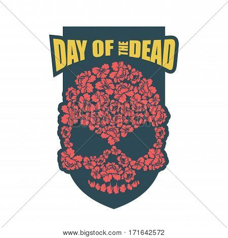 Day Of The Dead. Flower Skull. Mexico Traditional Holiday Religion Emblem