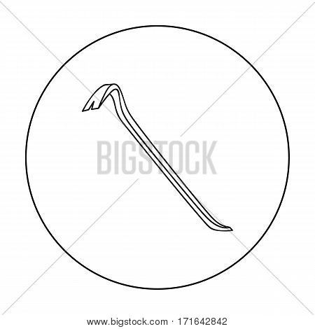 Crowbar icon in outline style isolated on white background. Crime symbol vector illustration.