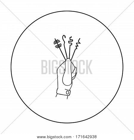 Lockpicks icon in outline style isolated on white background. Crime symbol vector illustration.