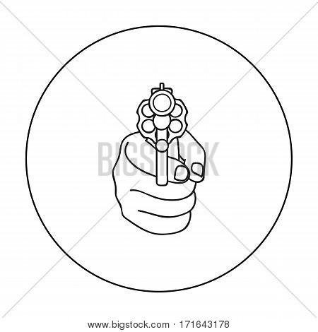 Directed gun icon in outline style isolated on white background. Crime symbol vector illustration.