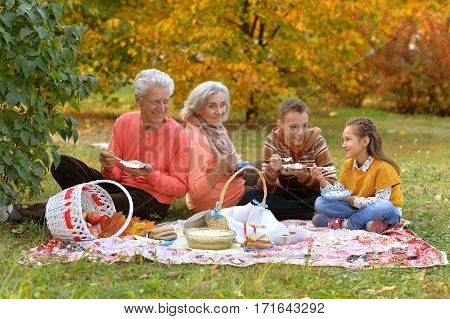 family on picnic in autumn, grandparents with grandchildren