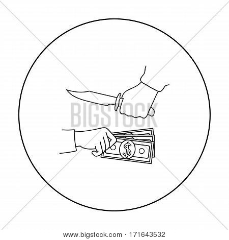 Robbery icon in outline style isolated on white background. Crime symbol vector illustration.
