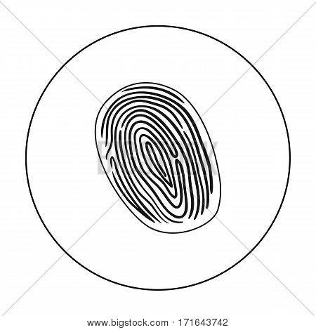 Fingerprint icon in outline style isolated on white background. Crime symbol vector illustration.