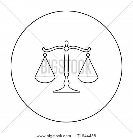 Scales of justice icon in outline style isolated on white background. Crime symbol vector illustration.