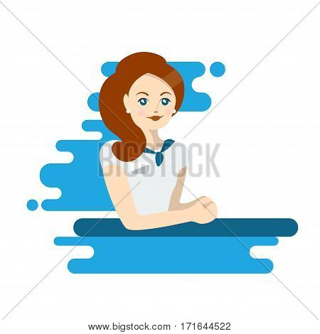 Flat woman administrator or worker. Colorful illustration