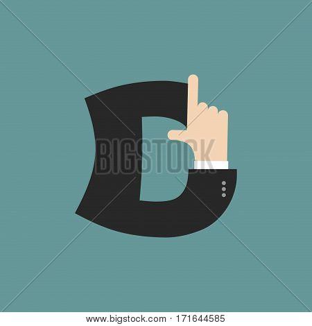 D Letter Businessman Hand Font. It Shows Finger Print. Arm Symbol Alphabet. Sign Of Abc