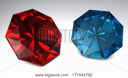 Red And Blue Diamonds Isolated On White