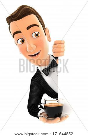 3d waiter behind left wall and holding cup of coffee illustration with isolated white background