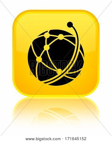 Global Network Icon Shiny Yellow Square Button