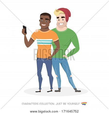 Two friends doing selfie on smartphone. Two guys homosexuals. Gays are looking at the phone. Self-expression and tolerance in society.
