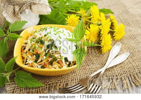 Nettle Salad With Cabbage