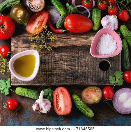 Background With Tomatoes And Cucumbers