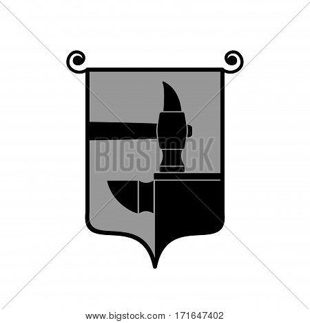Forge Logo. Smithy Symbol. Hammer And Anvil Emblem. Vintage Sign Blacksmith
