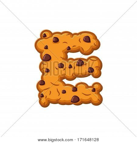 E Letter Cookies. Cookie Font. Oatmeal Biscuit Alphabet Symbol. Food Sign Abc