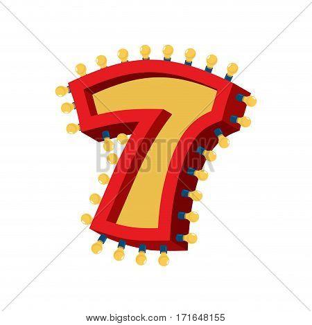 Number 7 Lamp Glowing Font. Vintage Light Bulb Alphabet Sign Seven. Retro Abc Sparkling Lights