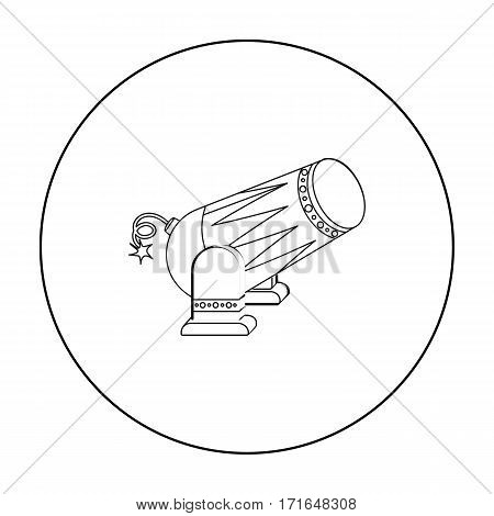 Circus cannon icon in outline style isolated on white background. Circus symbol vector illustration.