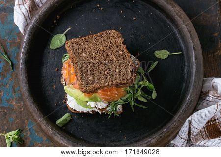 Avocado, Salmon And Ricotta Sandwich