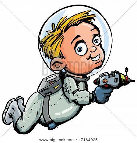 Cute Cartoon Of Spaceman With A Lazer Gun