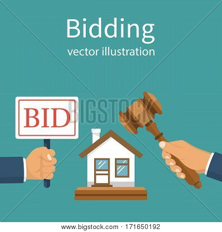 Bidding auction concept. Holding a sign Bid. Business sales. Buying selling house from auction. Auctioneer hold in hand gavel. Vector illustration flat design. Isolated on background.