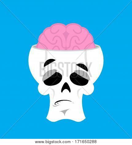 Skull And Brain Surprised Emoji. Skeleton Head Astonished Emotion Isolated