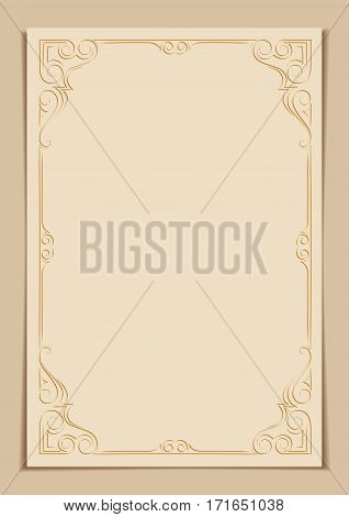 Ornate rectangular color frame on light background, calligraphic lines. A4 page proportions.