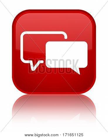 Testimonials Icon Shiny Red Square Button