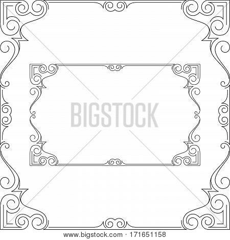 Ornate black frames, square and rectangular. Page decoration.