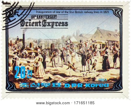 MOSCOW RUSSIA - February 13 2017: A stamp printed in North Korea shows Inauguration of the first British railway line in 1821 series
