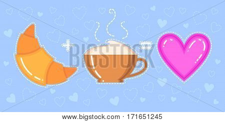 Funny vector illustration of croissant cappuccino cup and pink heart on blue background