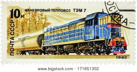 MOSCOW RUSSIA - February 12 2017: A stamp printed in USSR (Russia) shows shunting diesel locomotive TEM 7 series