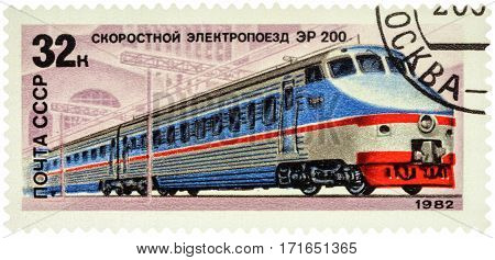 MOSCOW RUSSIA - February 12 2017: A stamp printed in USSR (Russia) shows Soviet high-speed train ER 200 series