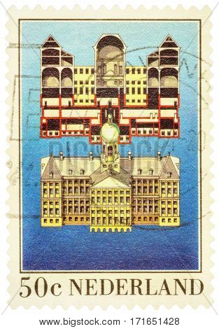 MOSCOW RUSSIA - February 16 2017: A stamp printed in Netherlands shows The Royal Palace in Amsterdam circa 1982
