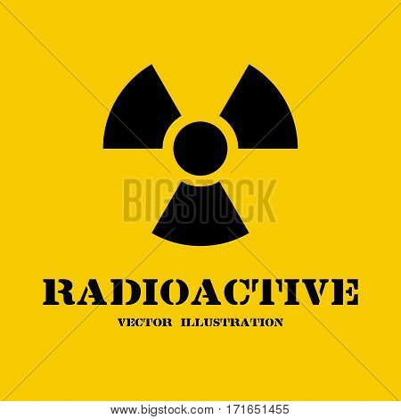 Radioactive symbol isolated on yellow background. Radiation sign for websites and print. Black icon. Template banner for papers, a place for text. Contamination. Vector illustration flat design.