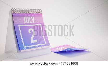 3D Rendering Trendy Colors Calendar On White Background - July 2