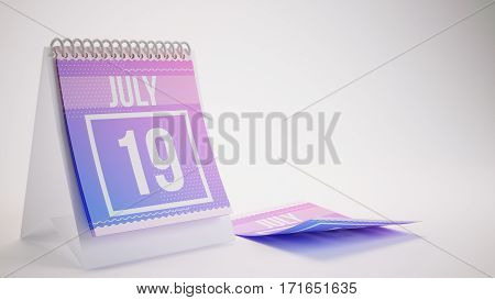 3D Rendering Trendy Colors Calendar On White Background - July 19