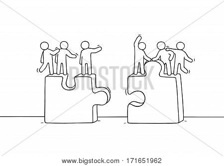 Cartoon working little people with puzzles. Doodle cute miniature scene of two teams. Hand drawn vector illustration for business and social design.
