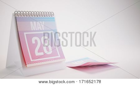 3D Rendering Trendy Colors Calendar On White Background - May 28