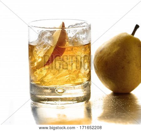 pear lemonade and pears on white background