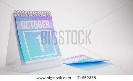 3D Rendering Trendy Colors Calendar On White Background - October 1