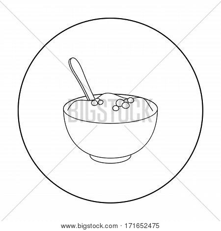 Mashed potatoes icon in outline style isolated on white background. Canadian Thanksgiving Day symbol vector illustration.