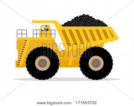 Vector illustration cartoon dump truck with a man driver carries in the back of a pile of coal. Isolated white background. Yellow big giant tipper carries cargo. Side view, flat style.
