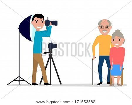 Vector illustration cartoon male photographer takes pictures photo grandparents. Isolated white background. Man professional photographer in studio. Side view, profile, flat style.