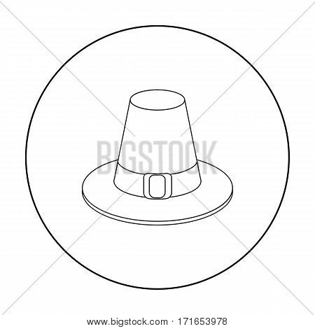 Pilgrim hat icon in outline style isolated on white background. Canadian Thanksgiving Day symbol vector illustration.