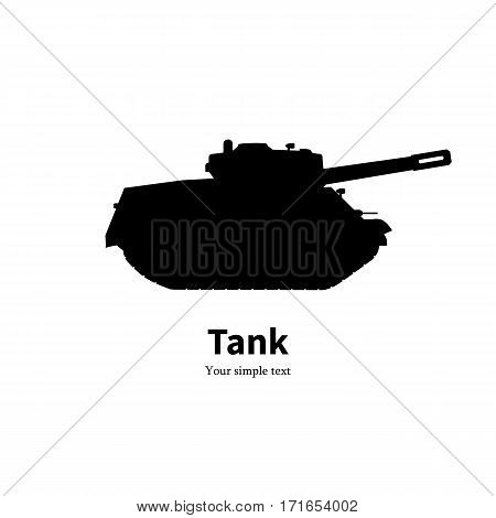 Vector illustration of black silhouette of a tank with an inscription. Isolated white background. Icon logo side view, profile.