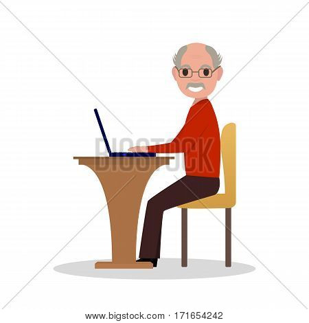 Vector illustration cartoon old man sitting at desk with a laptop. Isolated white background. Grandfather works at laptop. Elderly male in glasses sitting behind a computer. Flat style, side view.