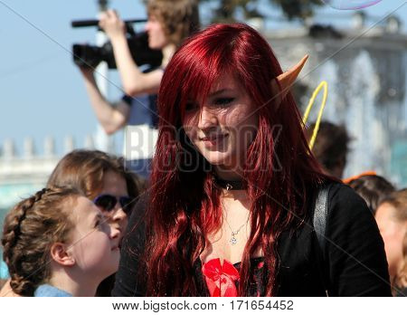 Moscow, Russia - May 18, 2014: Beautiful Young Girl Dressed As An Elf At Cosplay Festival At The All