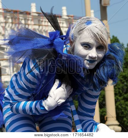 Moscow, Russia - May 18, 2014: Smiling Beautiful Mime Artist At Cosplay Festival At The All-russia E