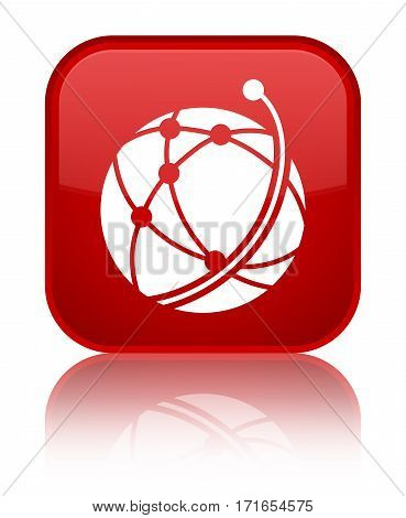 Global Network Icon Shiny Red Square Button
