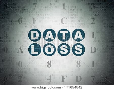 Data concept: Painted blue text Data Loss on Digital Data Paper background with Hexadecimal Code