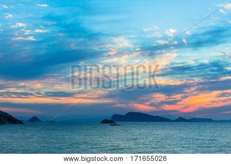 Pleasant dusk over the Aegean sea.